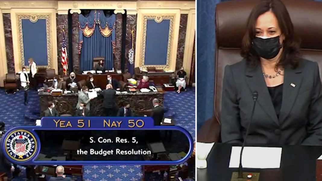 Harris casts first tie-breaking votes as vice president